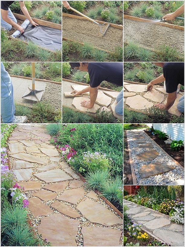 DIY Flagstone Path #flagstonepathway