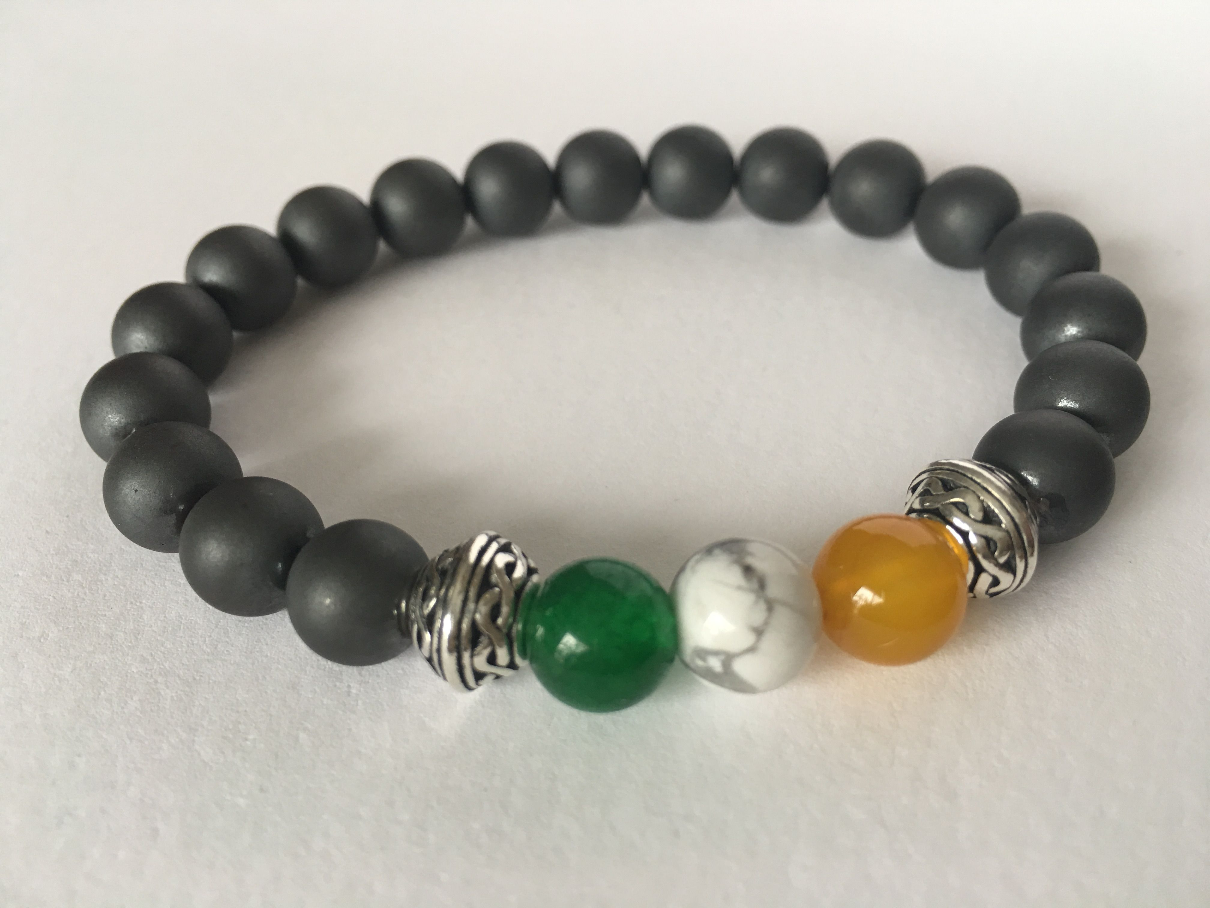 Wear your Irish pride! Irish flag gemstone bracelet.  https://www.etsy.com/listing/270148987/sale-10-off-mens-irish-flag-bracelet #etsymntt #stpatricksday #mensfashion