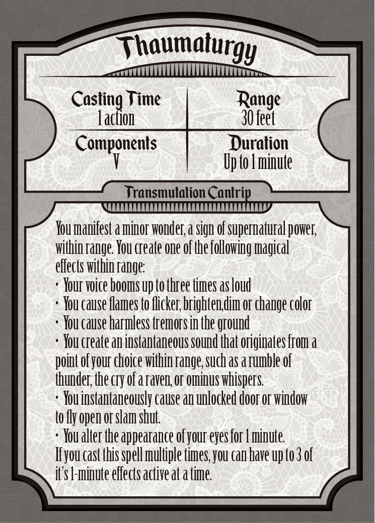 D D Thaumaturgy Transmutation Cantrip Spell Card Dnd Spell Cards Printable Playing Cards Dnd