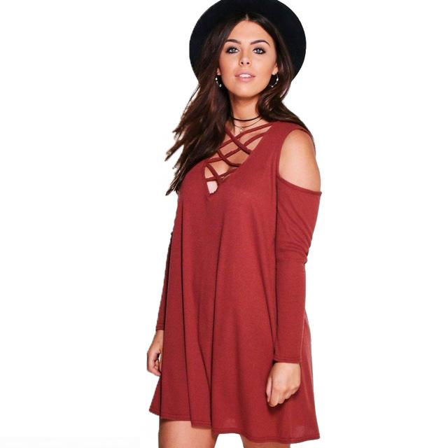 644cee5941b Kissmilk Plus Size Women Criss Cross Cold Shoulder Mini Shirt Dress Loose  Tunic Swing Long Sleeves Party Basic Dress Nightclub