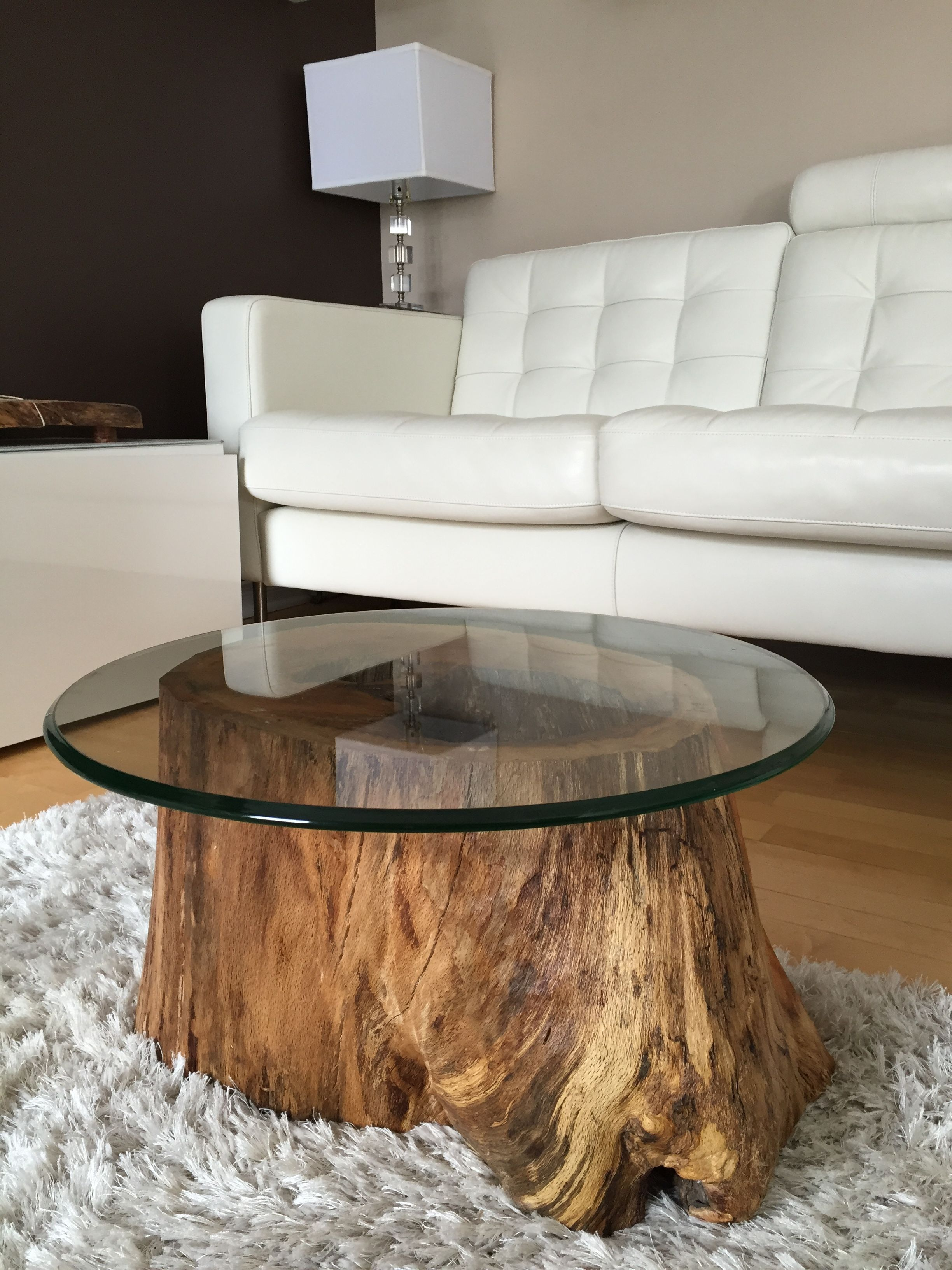log coffee table with glass top