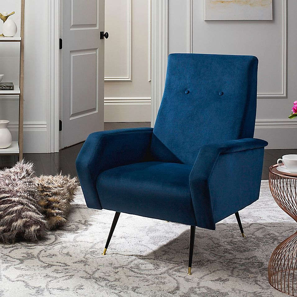 Safavieh Aida Accent Chair In Navy in 2020 Accent chairs