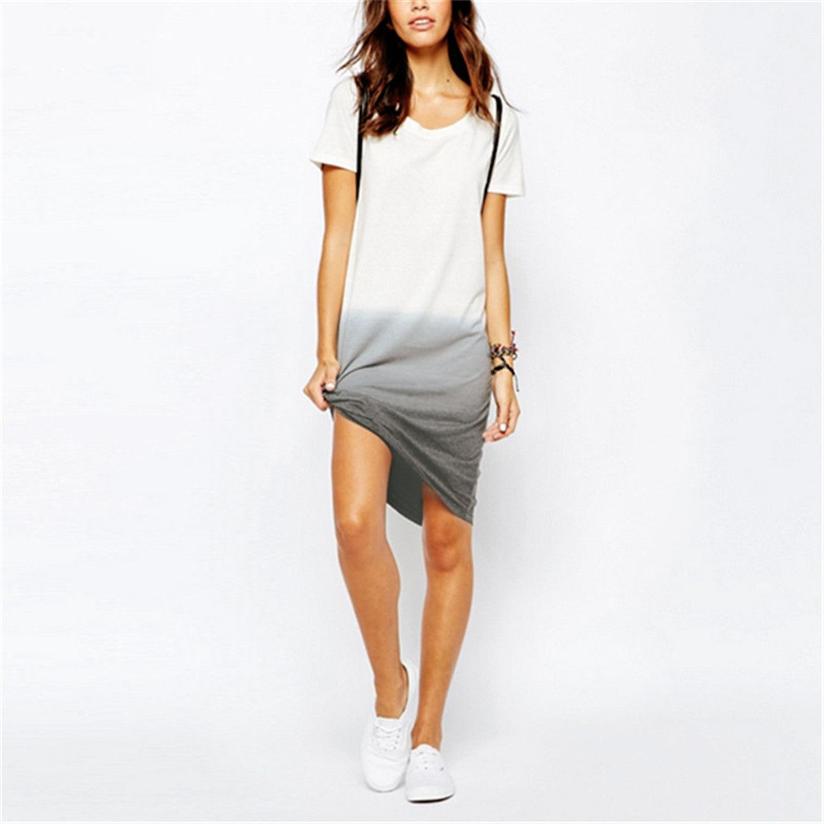 Summer style casual t shirt dress new stylish short sleeve oneck
