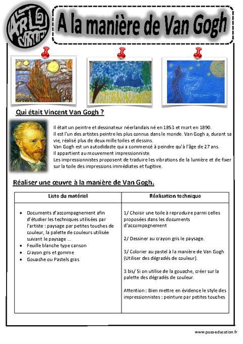 Berühmt A la manière de Van Gogh – Ce1- Ce2 – Cm1 – Cm2 – Arts visuels  HF56