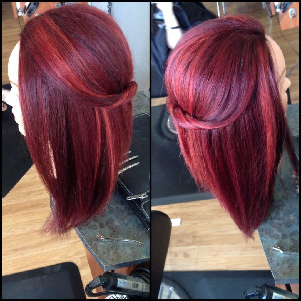 Vibrant Red Multidimensional Multitone Haircolor With Framesi Reds