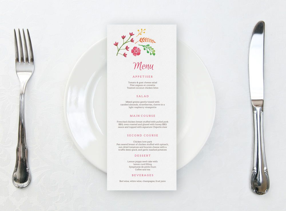 Printable wedding menu template with beautiful watercolour flowers - dinner party menu template