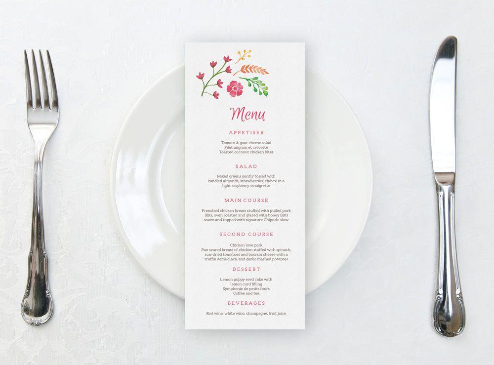 Printable wedding menu template with beautiful watercolour flowers