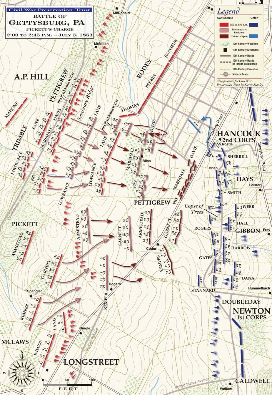 Gettysburg College Map Gettysburg   Pickett's Charge, July 3, 1863   2:00   2:30PM  Gettysburg College Map