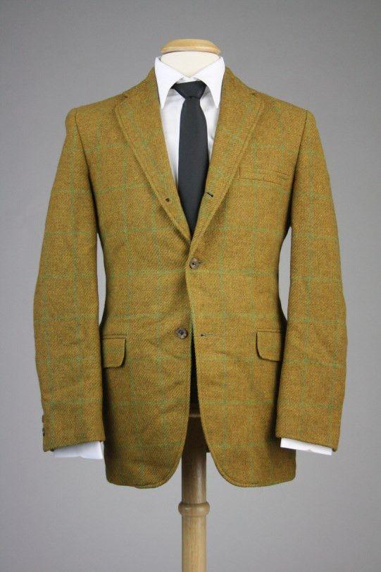 Vintage 60s Golden Brown Wool Tweed Windowpane 3/2 Roll Sportcoat/Blazer 44 R