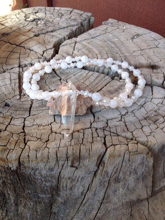 Cracked Quartz Chrystal Beaded Necklace W/Hanging Point Quartz Chrystal on Etsy, $28.00