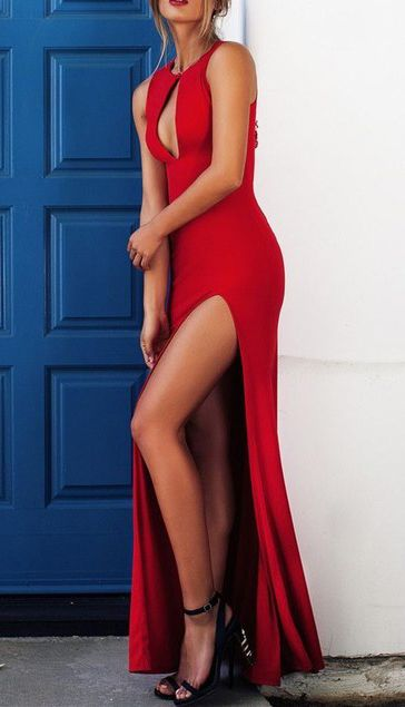 Dramatic Red Sleeveless Prom Dress,Sexy Side Slit Evening Dress,Chest Open Prom Dress,Split at lower part of dress
