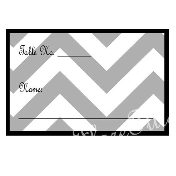 PDF Printable Grey Chevron Name Cards, You Print Place Cards, Vintage Place Cards Black, Grey and White, Wedding Name Cards
