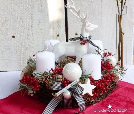 adventskranz hirsch rote beeren weihnachten pinterest rote beeren hirsche und rot. Black Bedroom Furniture Sets. Home Design Ideas