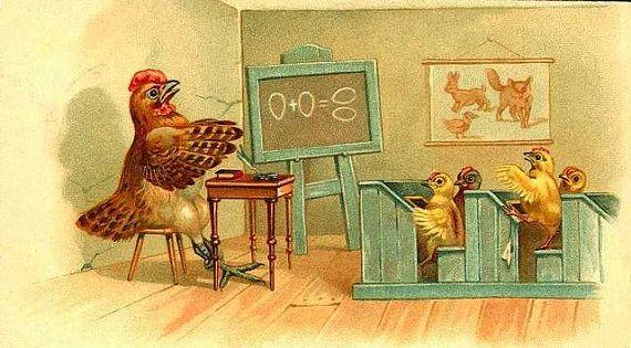 Arte Infantil gallinas y polluelos  de la Escuela por BloominLuvly, $8.95