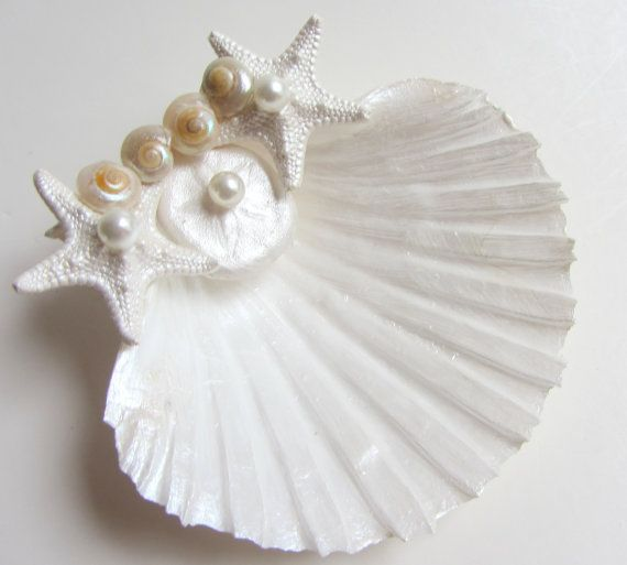 Beach Wedding Seashell Ring Pillow Shell Ring Bearer by CereusArt