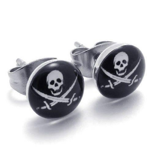 KONOV Jewelry Two Tone Biker Mens Stainless Steel Pirates Skull Stud Earrings, 2pcs, Color Silver Black KONOV Jewelry. $4.99. Earrings Height: 7mm Width: 7mm. Unit: 1 Pair (2pcs). Brand: KONOV Jewelry. Material: Stainless Steel; Color: Silver & Black. Save 80% Off!