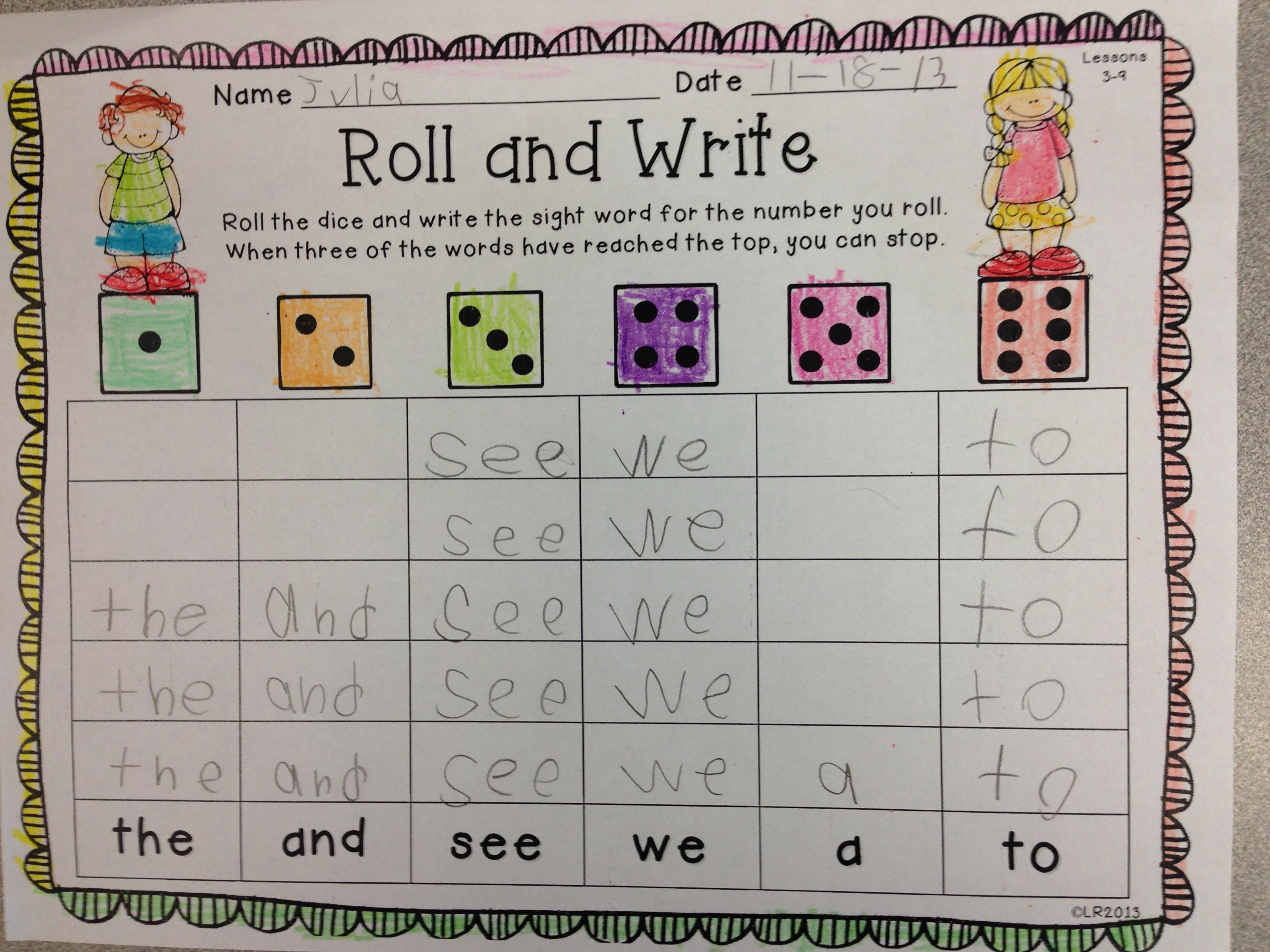 Roll And Write For Use With Kindergarten Journeys