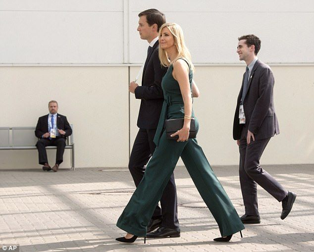 be0e60fc40f Past  This isn t the first time Ivanka has worn the green jumpsuit during  an official function. She was pictured in it back in July 2017 during the  G20 in ...
