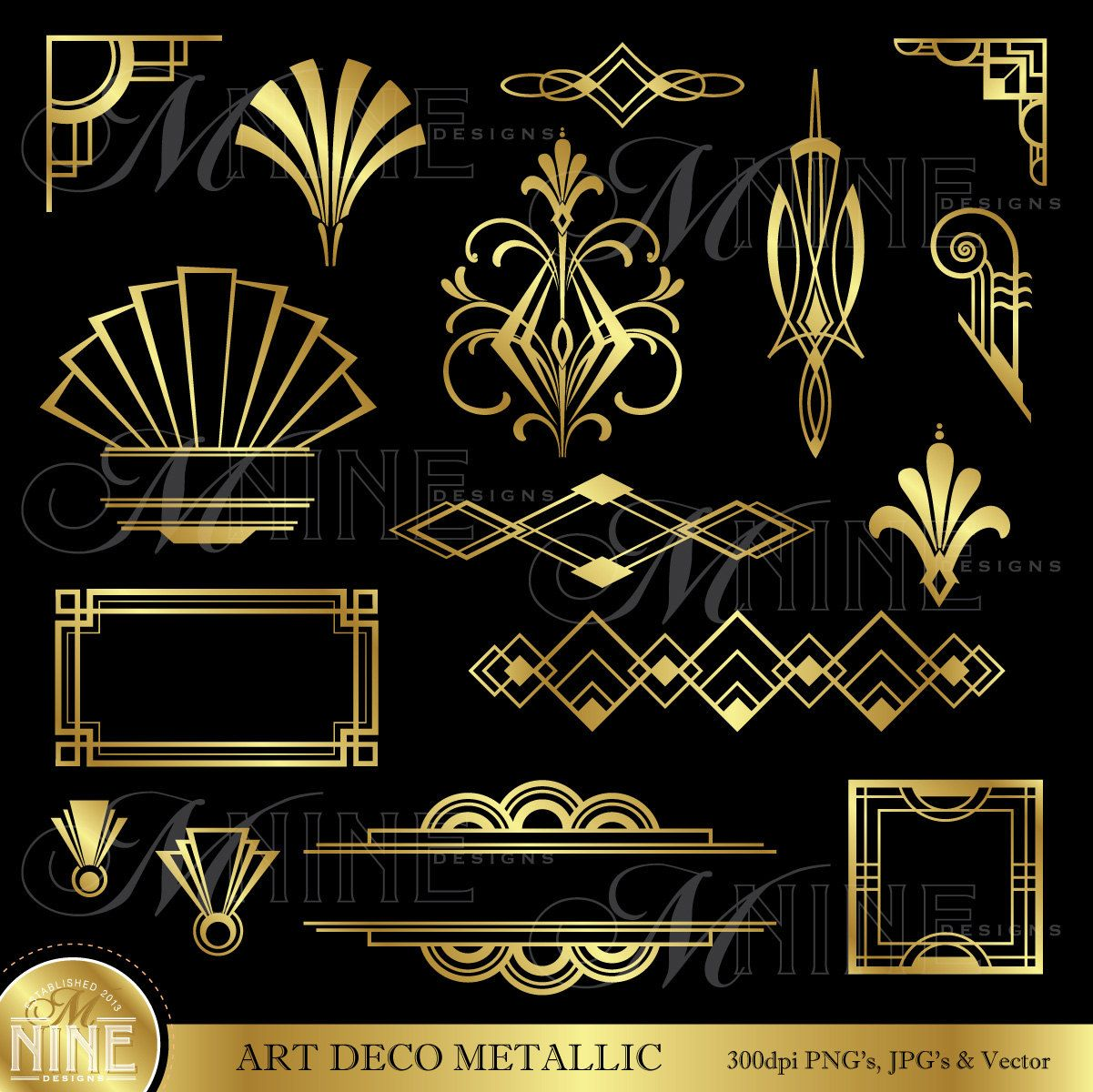 art deco gold metallic style design elements by