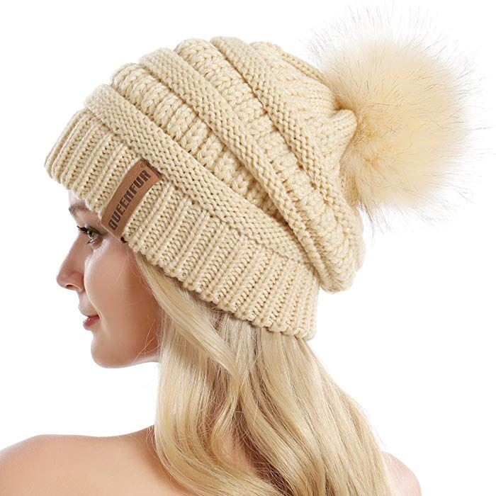 5c887e93a60 QUEENFUR Women Knit Slouchy Beanie Chunky Baggy Hat with Faux Fur Pompom  Winter Soft Warm Ski Cap at Amazon Women s Clothing store