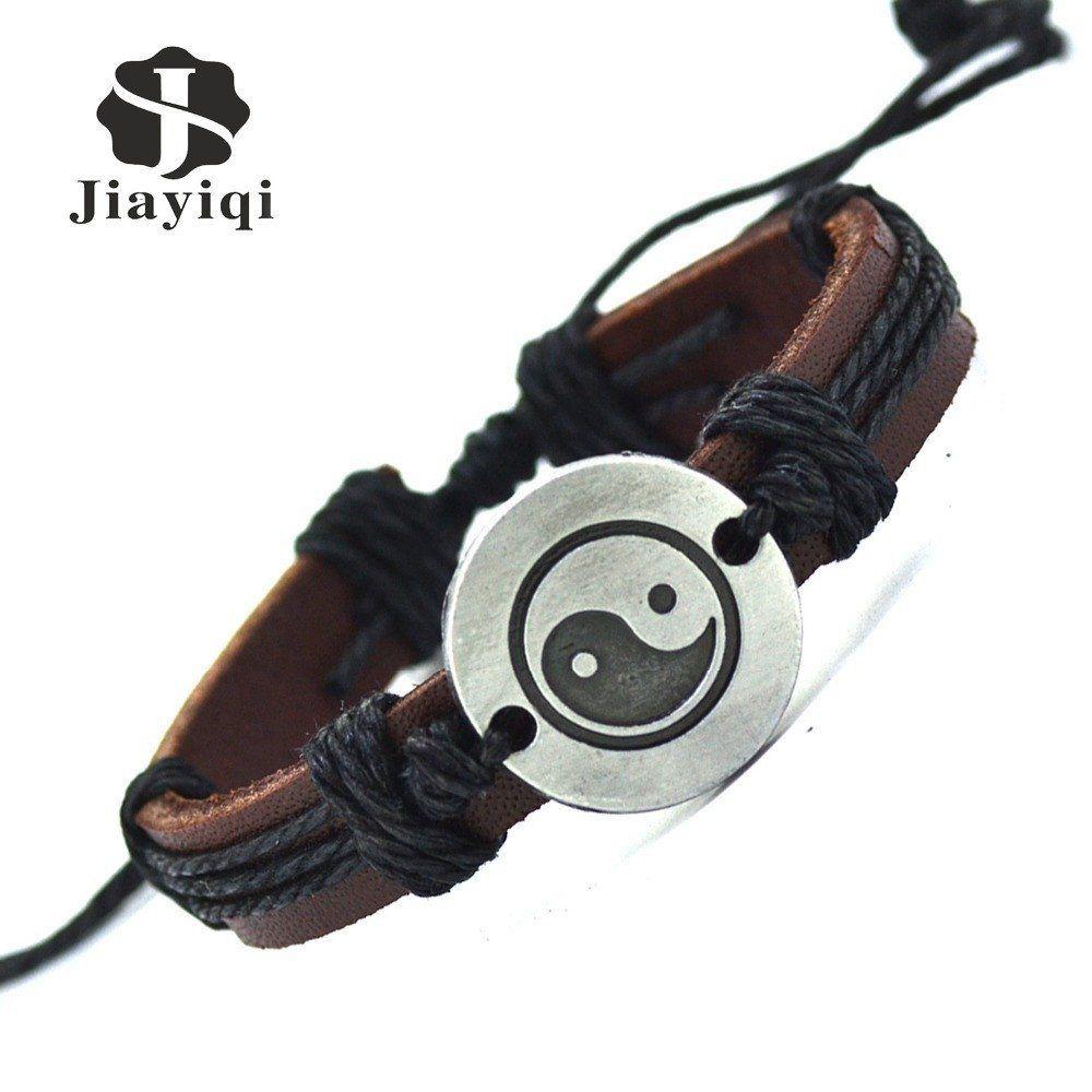 Vintage handmade twine genuine leather cuff bracelet for women or