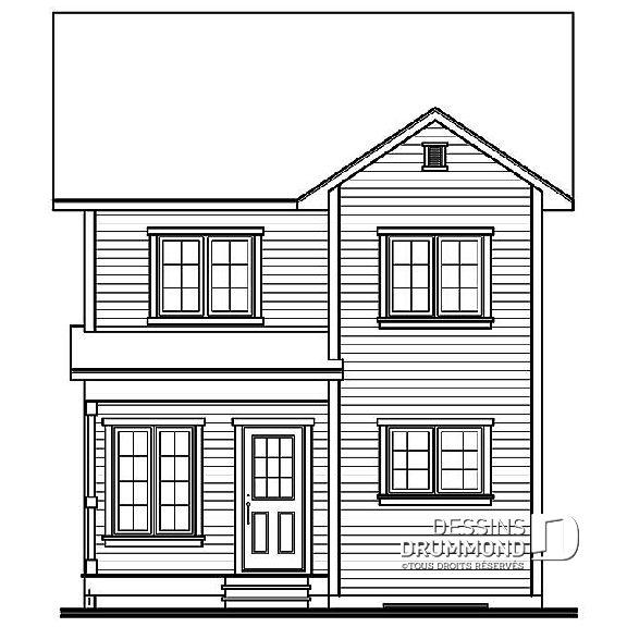 Élévation arrière du plan de maison unifamiliale W1738 Plans De - plan de maison design