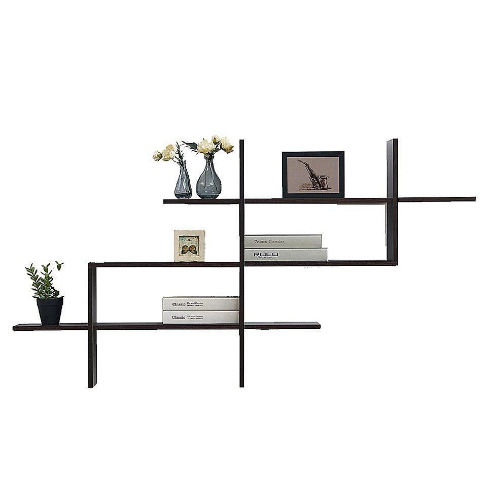 Danya B 3 Tier Floating Ladder Accent Shelf In Brown Shelves