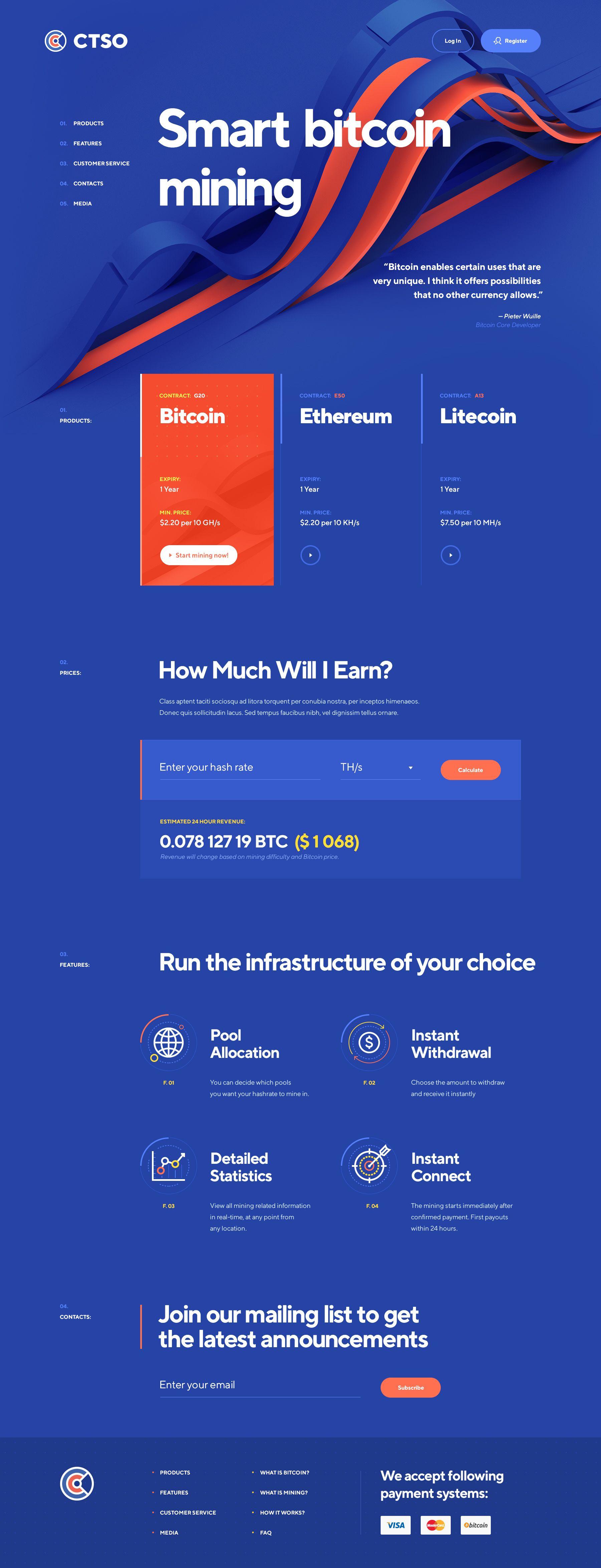Bitcoin / Altcoin mining App design inspiration, Web