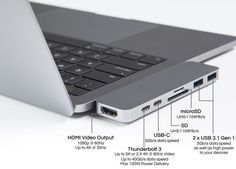 The HyperDrive USB-C adapter adds useful ports to the MacBook Pro