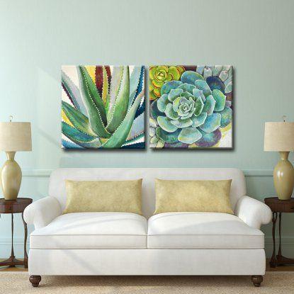 Ready2hangart brilliant succulents i ii canvas wall art set of 2 hayneedle