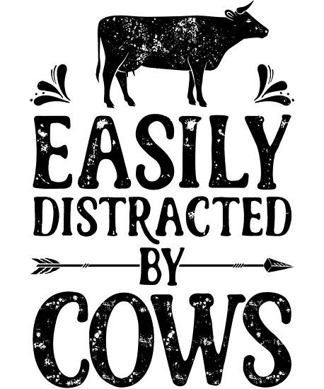 'Easily Distracted By Cows Shirt Funny Farming Farm Gifts ...