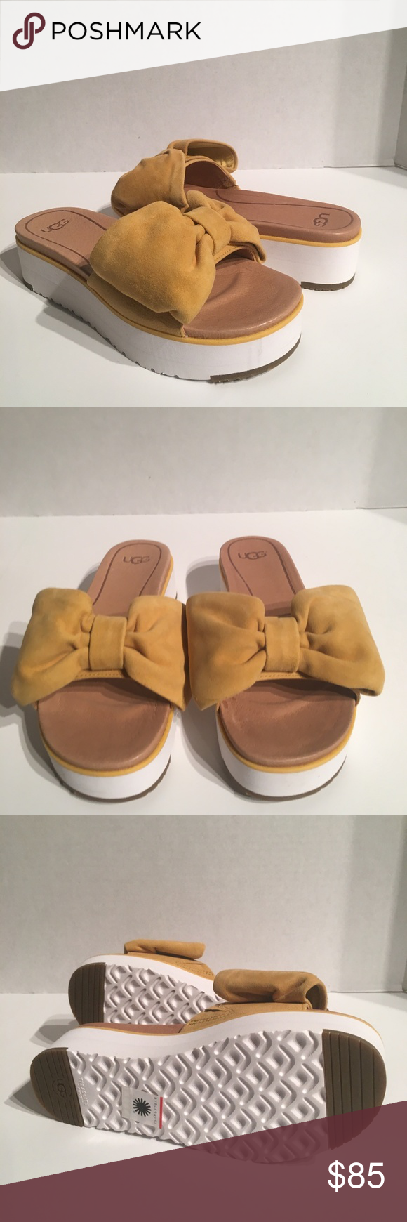 55e62cf96a3 Ugg Joan Sunflower Suede Bow Platform Slide Sandal New with box ...