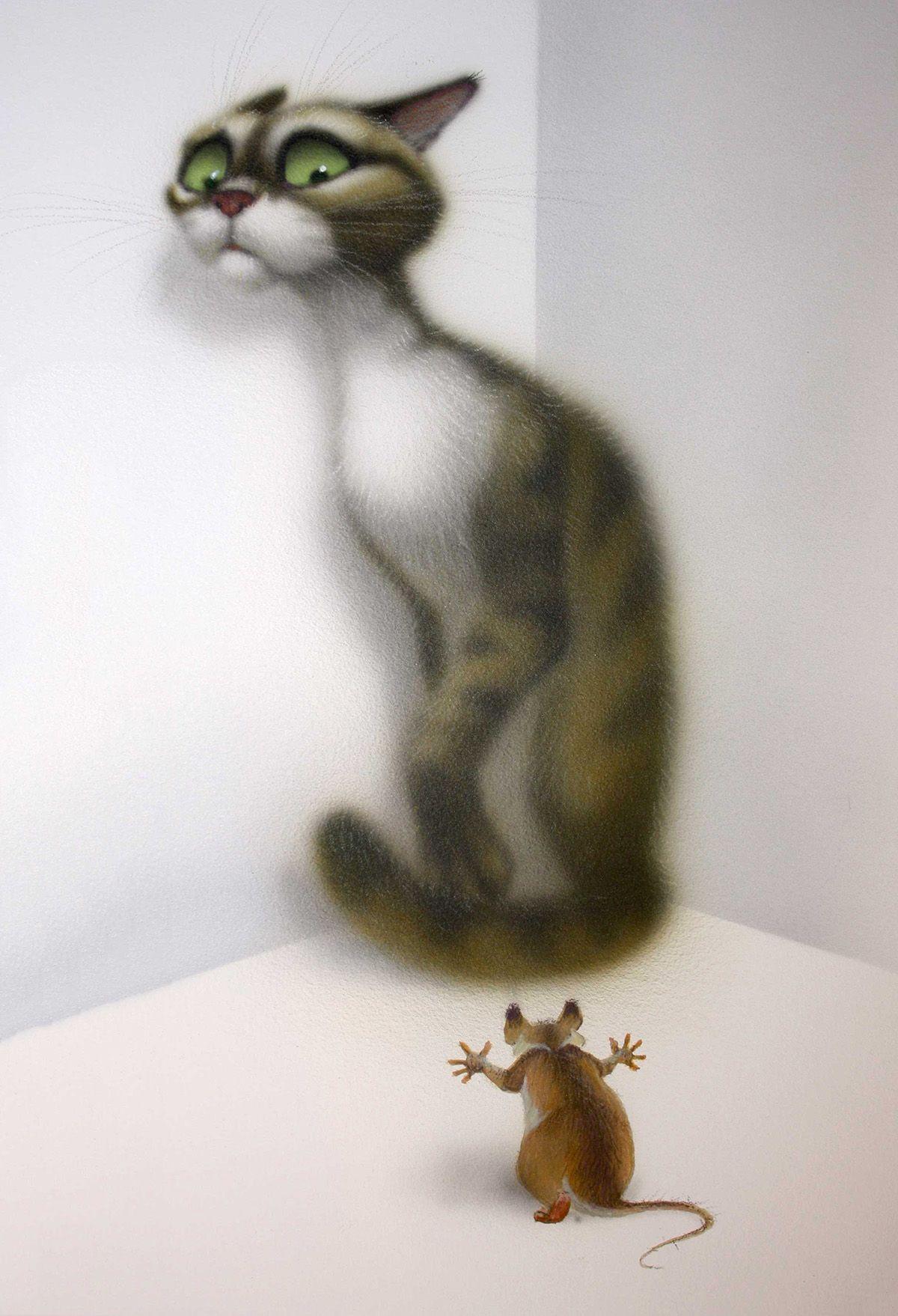 Для подростков, рисунок прикольный кошка