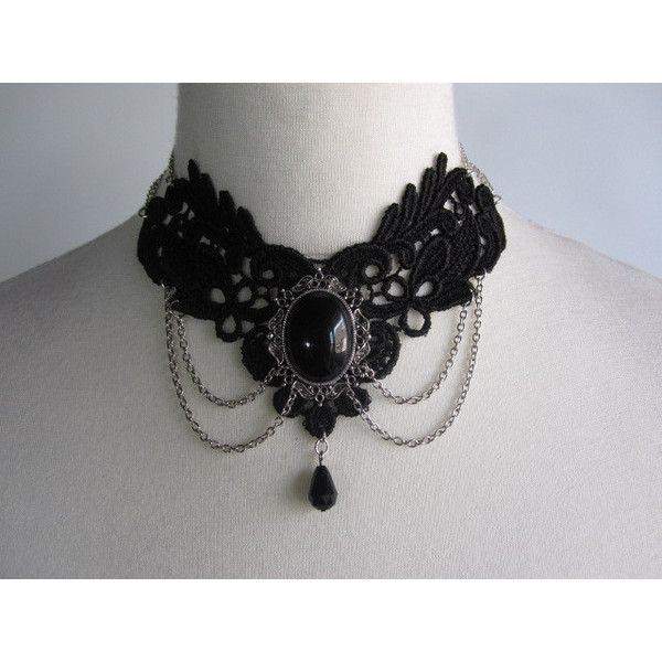 Gothic Burlesque Black Lace Necklace, Angelique Marquise des Anges ($39) ❤ liked on Polyvore