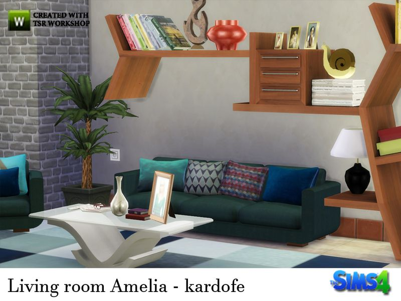 comfortable living room, consisting of a sofa, chair, bookcase