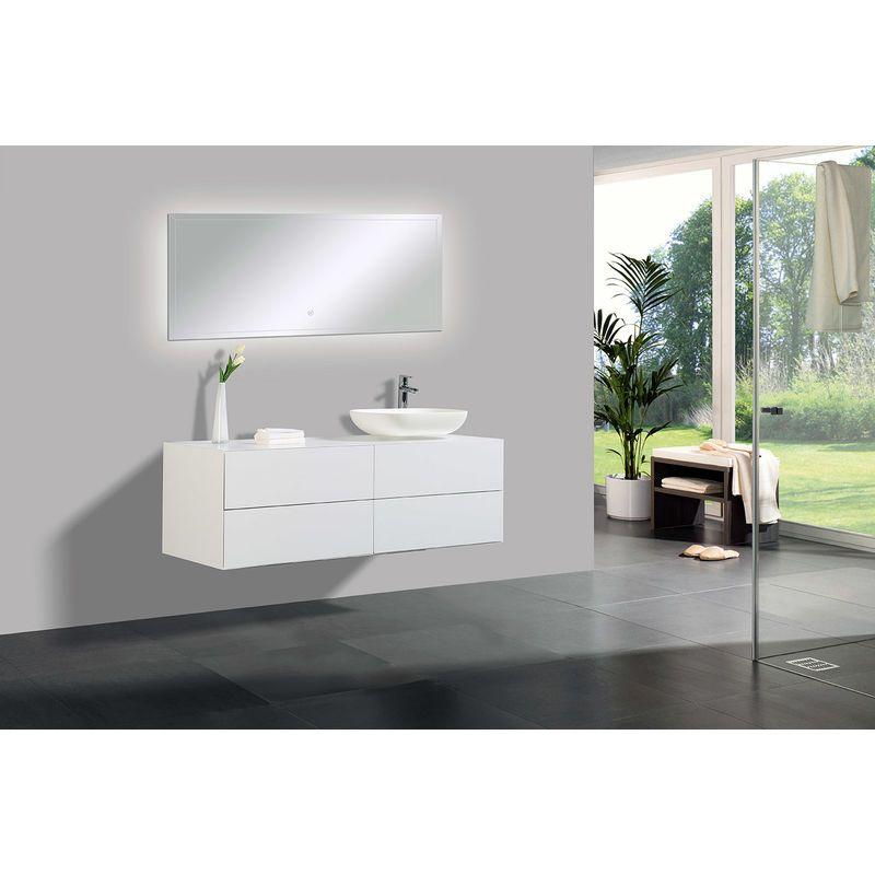 Ensemble De Salle De Bain Milou 1400 Blanc Mat Miroir Et Vasque