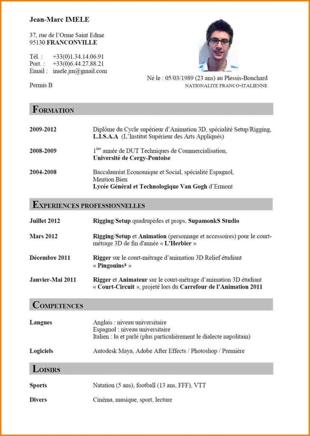 L Exemple De Curriculum Vitae Sample Resume Format Resume