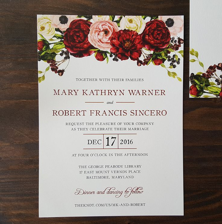 Burgundy Red And Blush Flowers Including Roses, Peonies And Anemones Top  This Modern Wedding Invitation Pictures