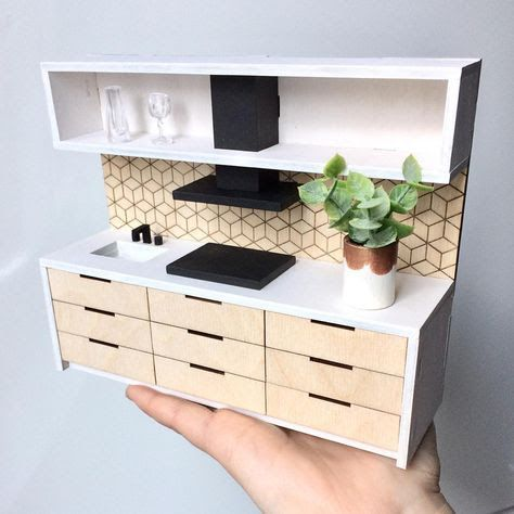 DIY Miniature Kitchen Cabinets | How to make Kitchen Cabinets for Dollhouse - MyKingList.com #miniaturekitchen