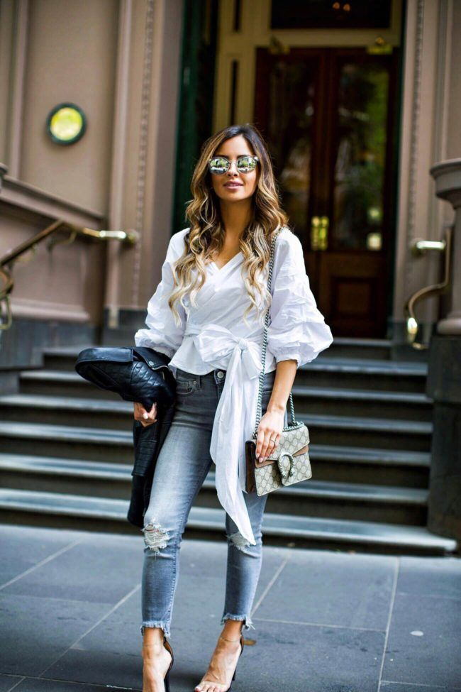 ab0022299674a What I Wore  Casual In Melbourne - Storets Wrap Blouse    Zara Leather  Jacket    Express Gray Jeans    Gucci Dionysus Bag    Public Desire Heels     Quay ...