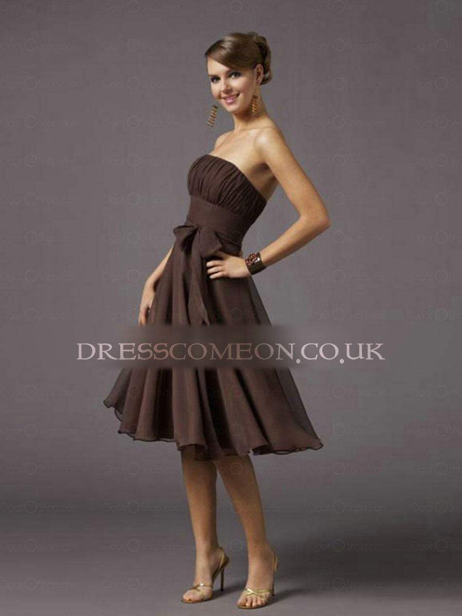 Exquisite chiffon bow belted aline tea length cocktail dress prom