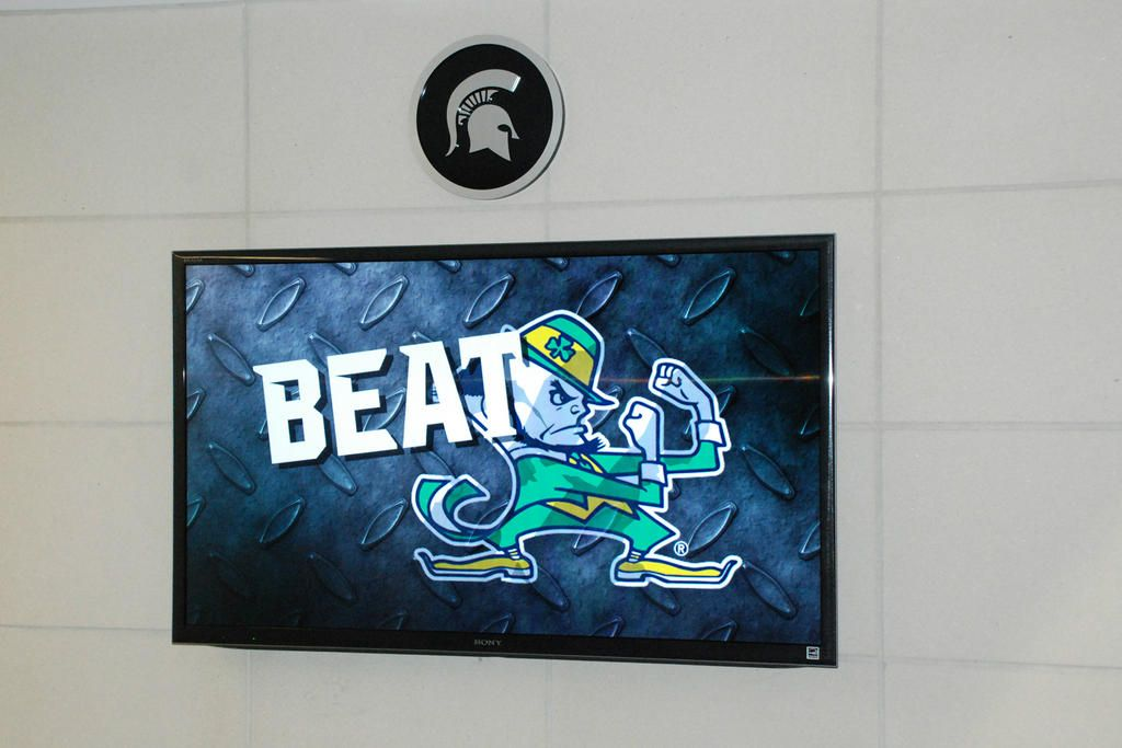 Friday night's mission as stated on the video screen outside the locker room in the Skandalaris Center. #Spartans