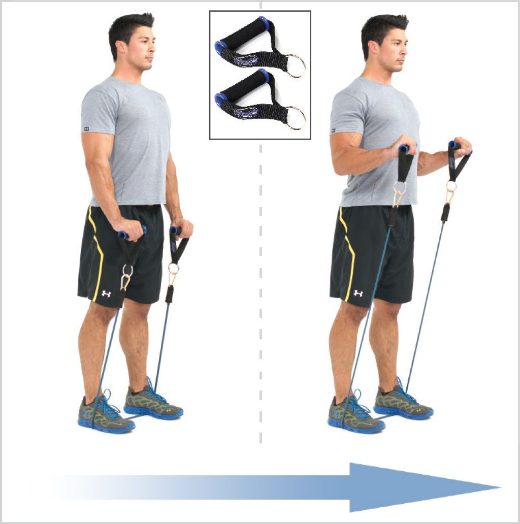 Resistance Bands Treadmill Workout: Reverse Biceps Curls With Exercise Resistance Bands