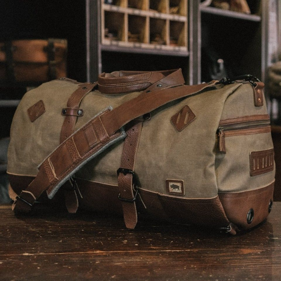 Dakota Waxed Canvas Duffle Bag Backpack - Field Khaki w  Chestnut Brown  Leather 1b160ff192942