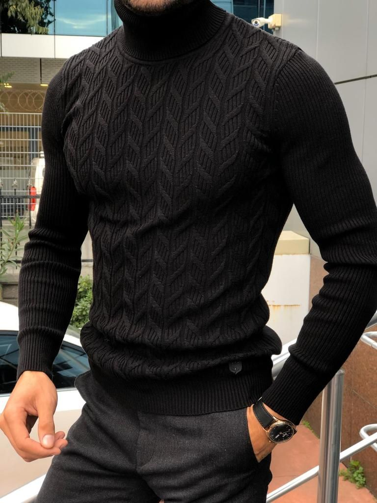 Mens Winter Knitted High Turtle Neck Pullover Sweater Slim Fit Jumper Casual Top