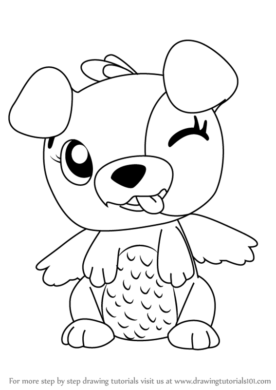 stepstep how to draw puppit from hatchimals