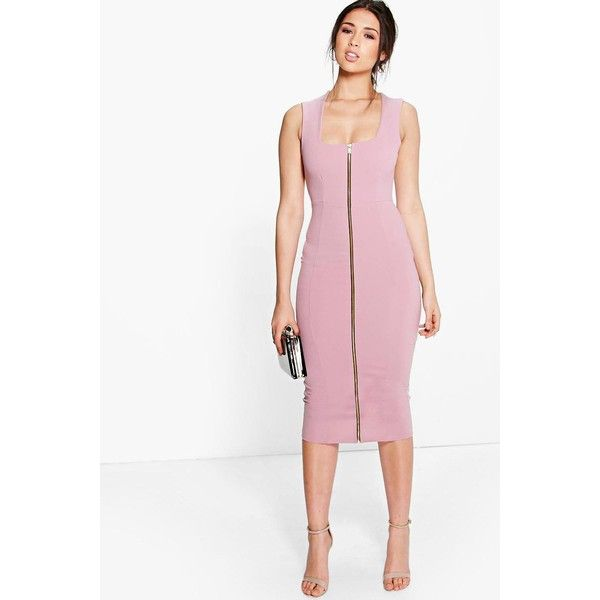 Boohoo Night Sonia Square Neck Zip Front Bodycon Dress (130 SAR ...