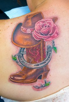 Cowboy boot and hat tattoo cowgirl countrygirl tattoo for Cowboy boot tattoo