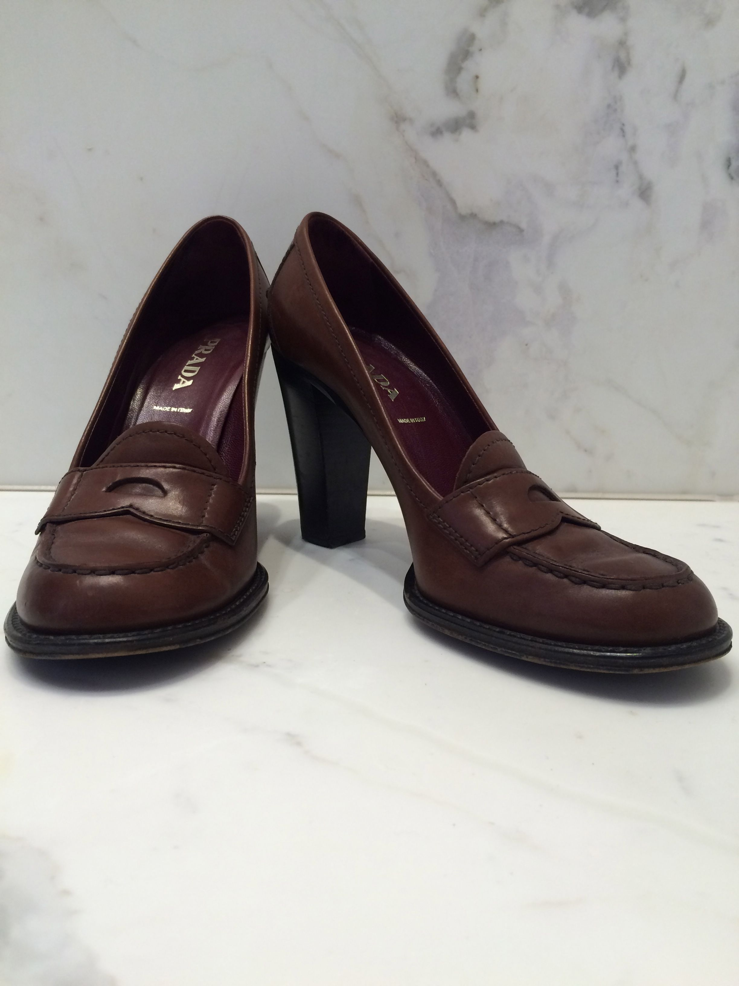 f402044f1 PRADA Heeled Penny Loafer in gorgeous burgundy leather. Made in Italy.  http