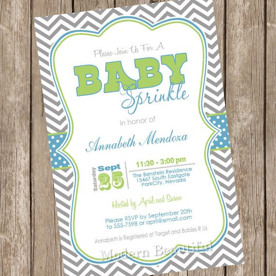 Boy Sprinkle Baby Shower Invitation Blue And By Modernbeautiful